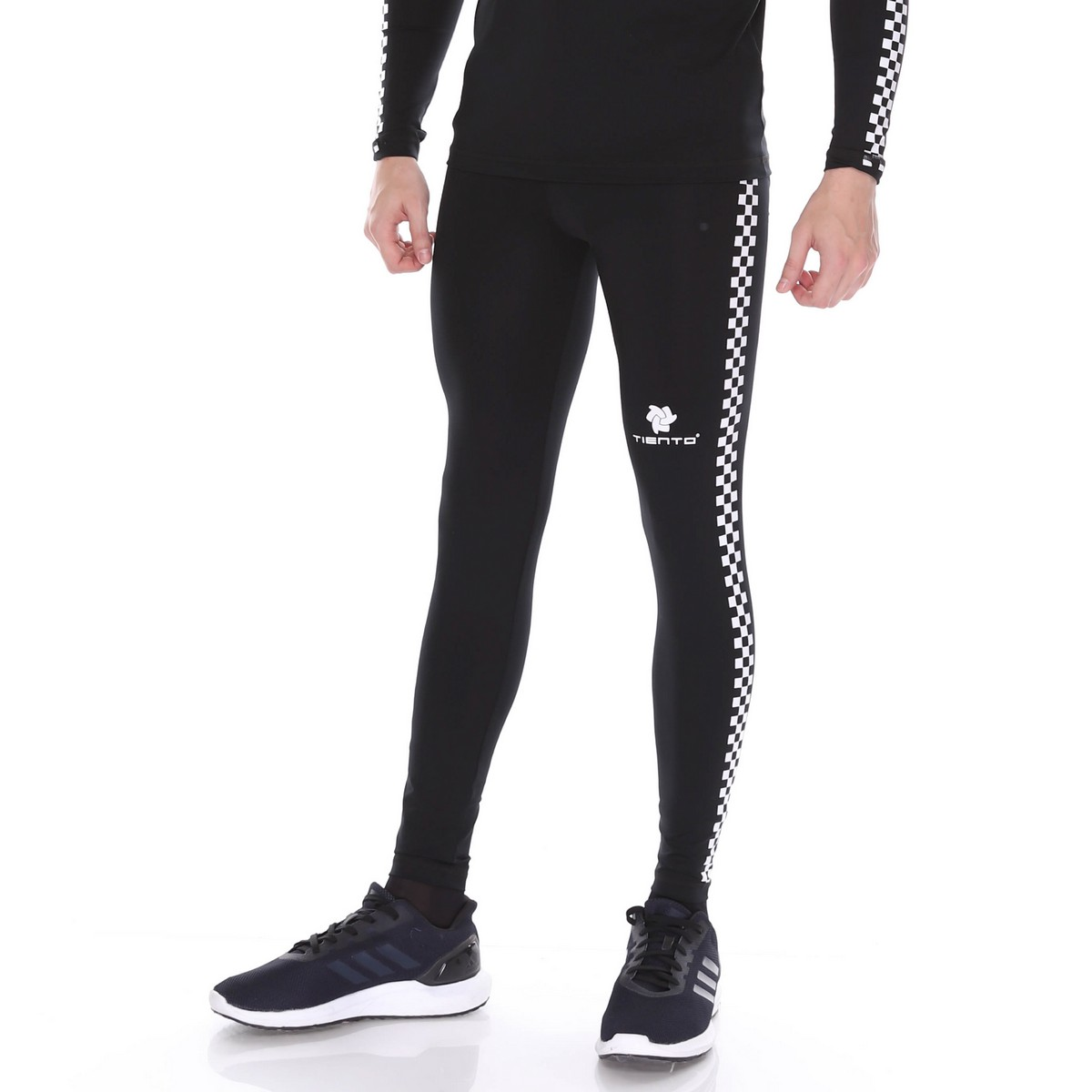 Celana Legging Sport Long Pants Black Retro Race Men Tiento