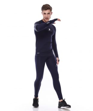 Baselayer Long Sleeve Thumbhole Dan Celana Legging Long Pants Navy Men 1 Stel Tiento