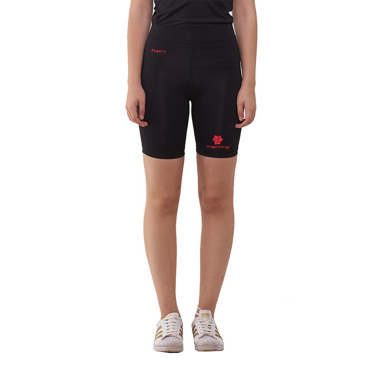 Celana Legging Sport Short Pants Black Red Women Tiento
