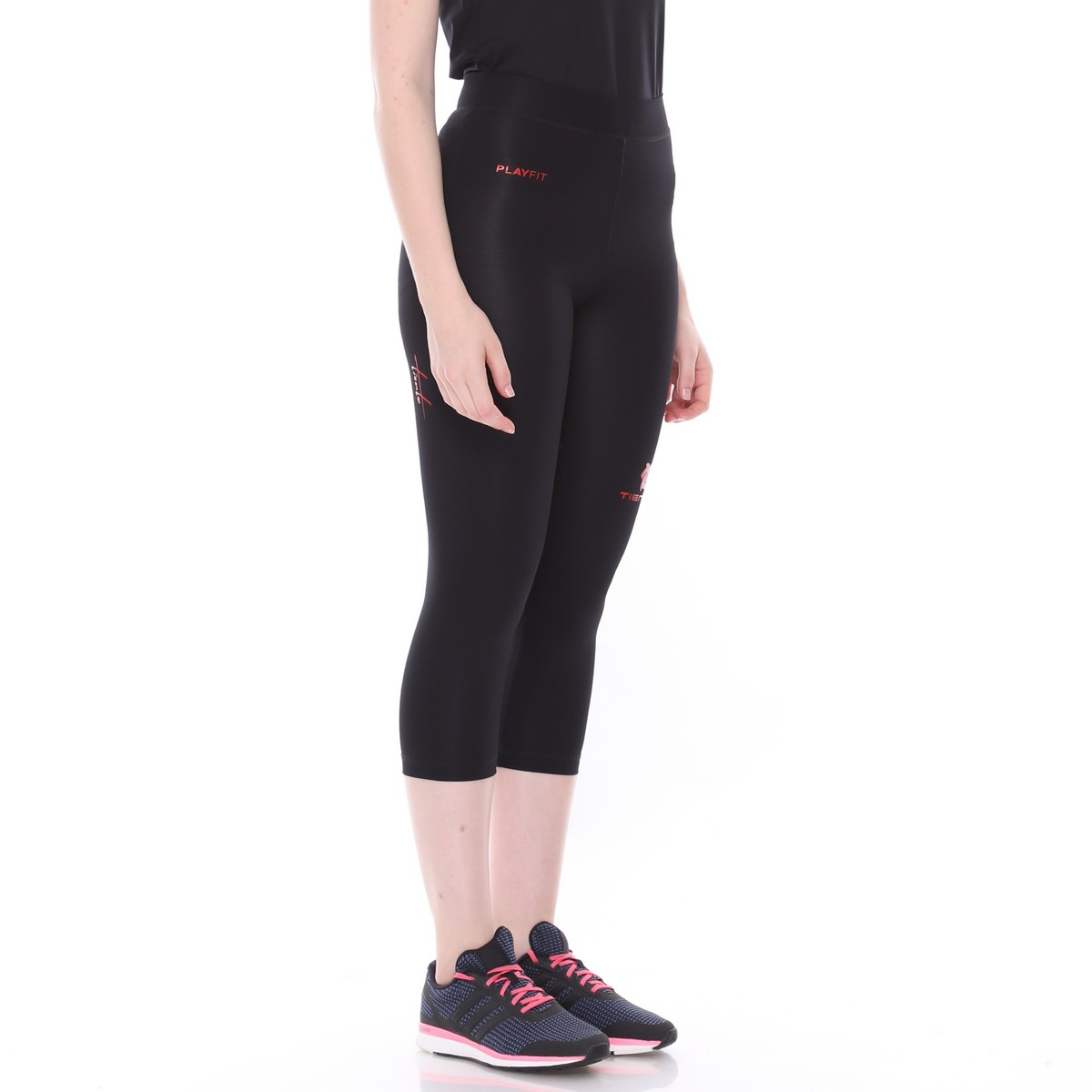 Celana Legging Sport 3 4 Pants Black Red Women Tiento