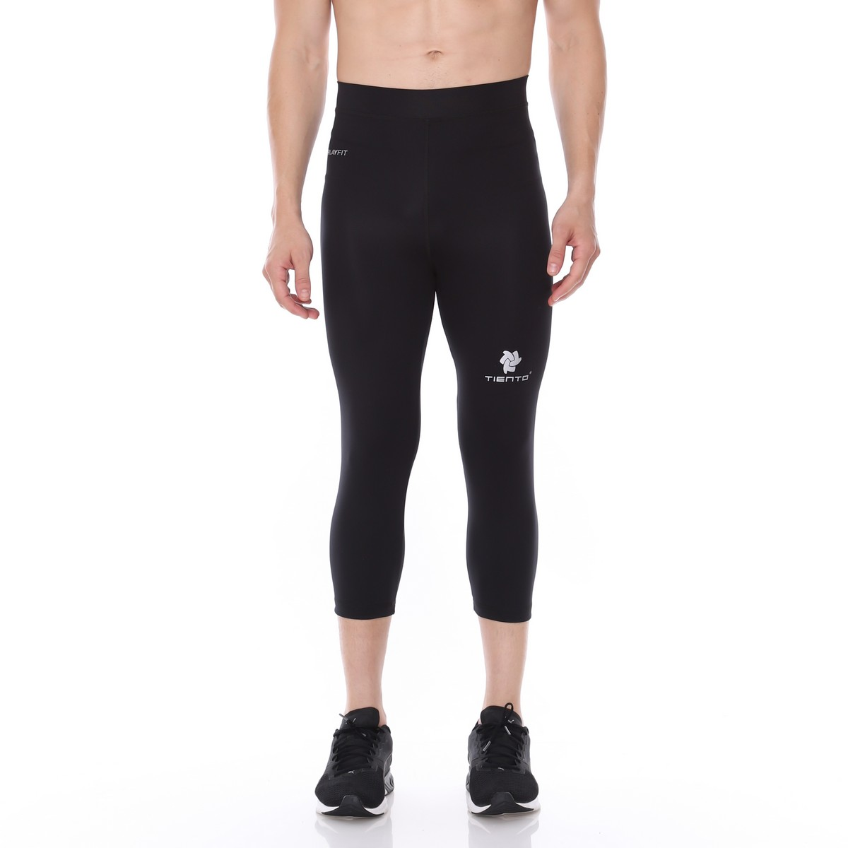 Celana Legging Sport 3 4 Pants Black Silver Men Tiento