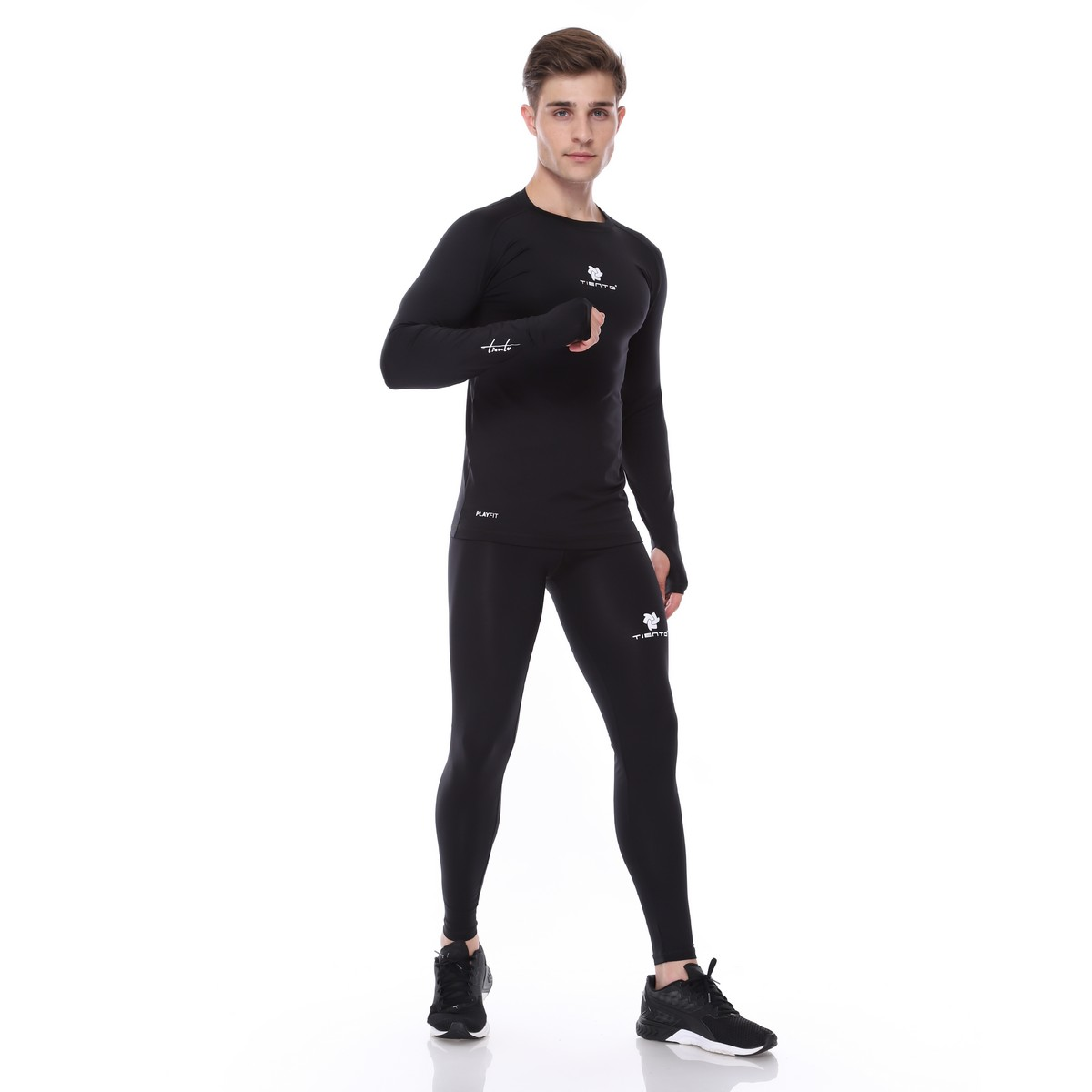 Baselayer Long Sleeve Thumbhole Dan Celana Legging Sport Long Pants Black White Men 1 Stel Tiento