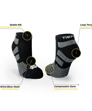 Tiento Compression Socks To Move Black Short Ankle With Anti Bacterial Technology